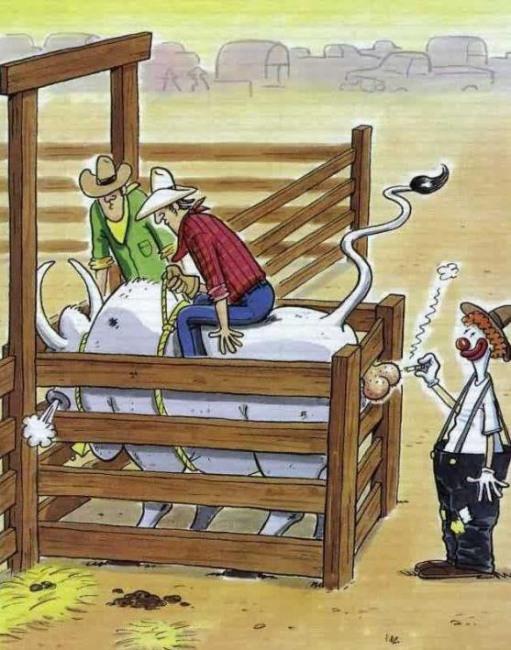 Малюнок  про ковбоїв, клоунів чорний