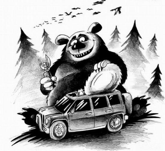 Малюнок  про ведмедів, туристів чорний