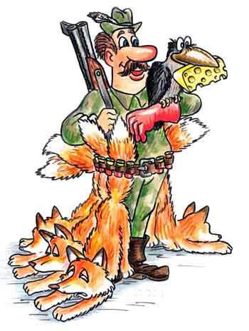 Малюнок  про мисливців, ворону, сир та лисицю