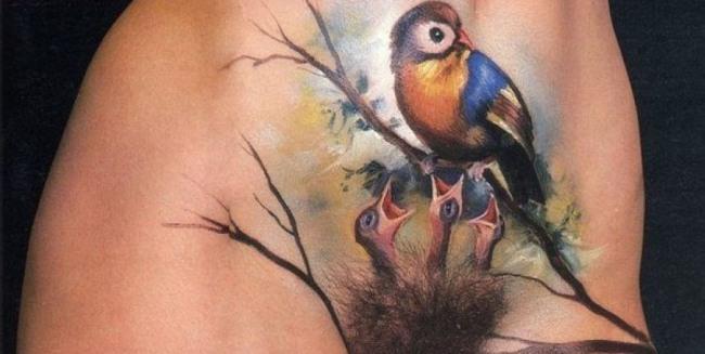 Фото прикол  про лобок, татуювання вульгарний