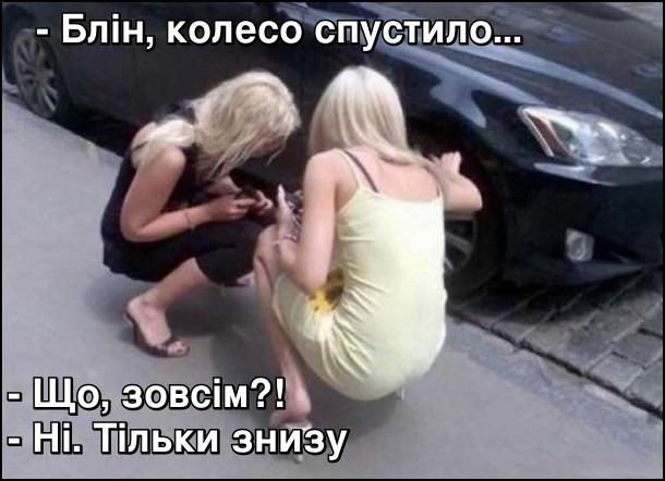 Фото прикол  про білявок та жінок за кермом