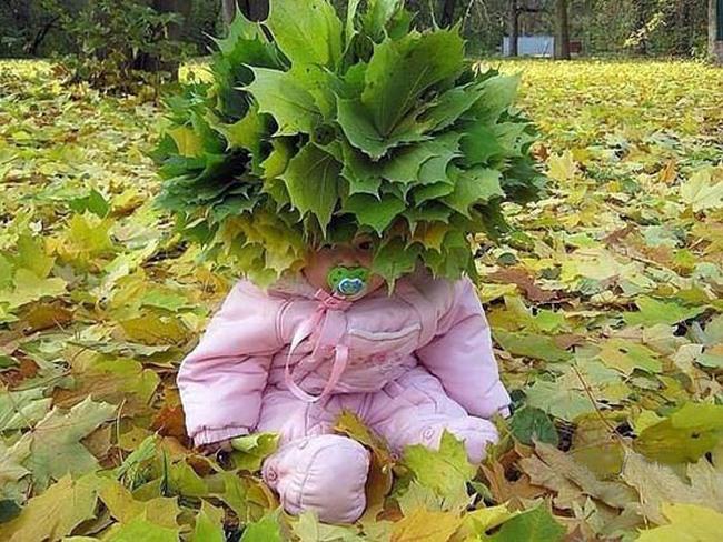 Фото прикол  про листя та дітей