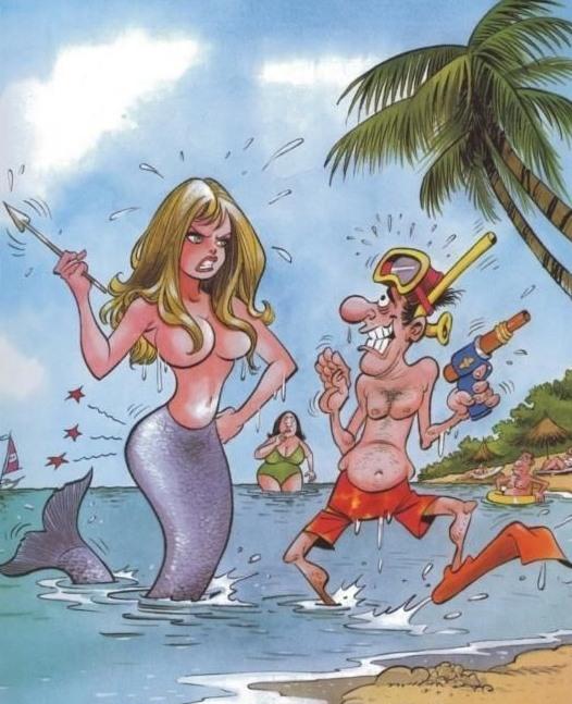 Малюнок  про русалок, водолазів вульгарний