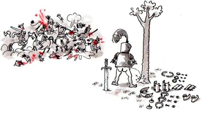 Малюнок  про лицарів та сечовипускання