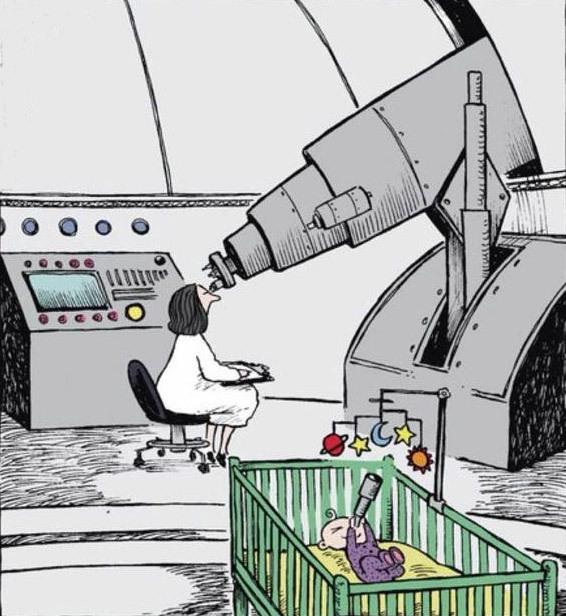 Малюнок  про астрономів, телескоп та дітей