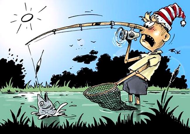 Малюнок  про буратіно та риболовлю