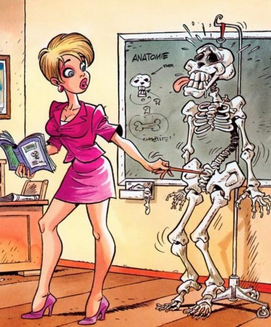 Малюнок  про скелет та білявок