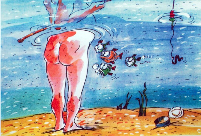 Малюнок  про дупу, рибу та риболовлю