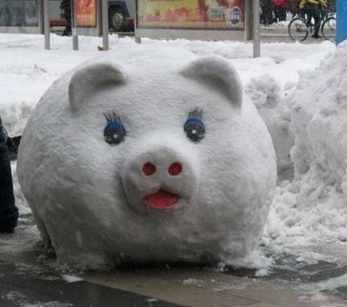 Фото прикол  про сніговика та свиней