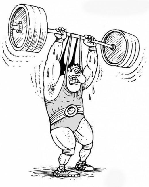 Малюнок  про спортсменів та штангу