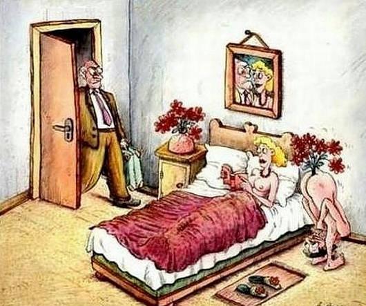 Малюнок  про коханців та чоловіка, дружину