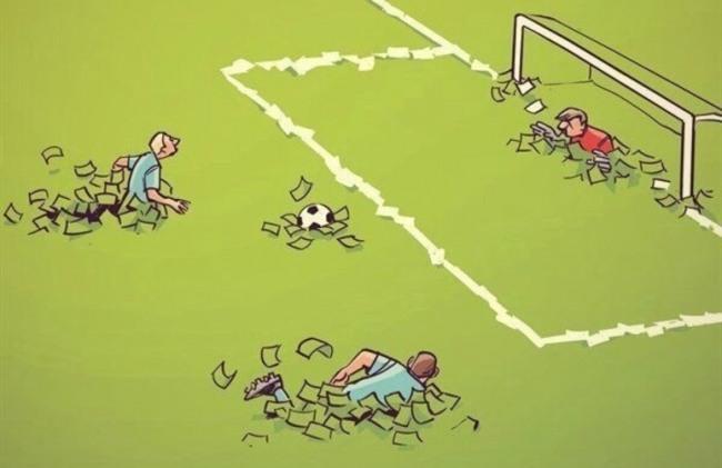 Малюнок  про футбол та гроші