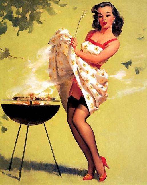 Малюнок  про дівчат, приготування їжі та еротику