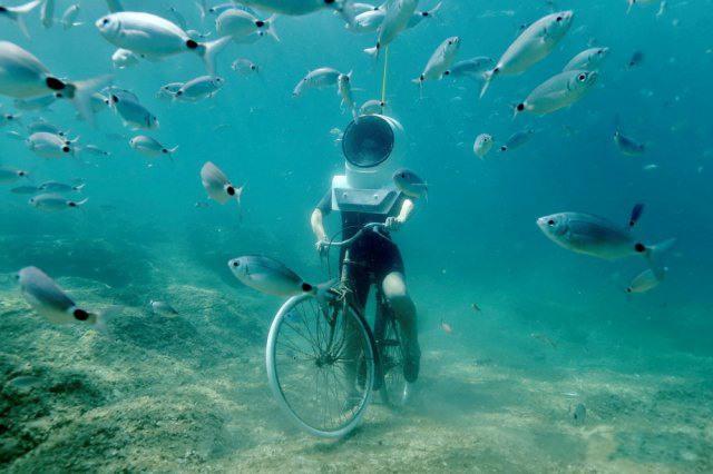 Фото прикол  про водолазів та велосипедистів