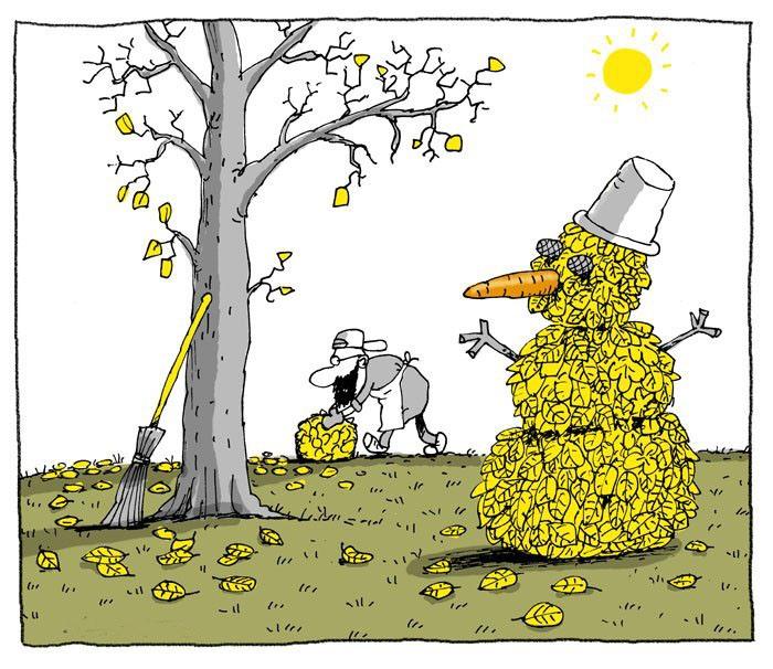 Малюнок  про сніговика, листя та осінь