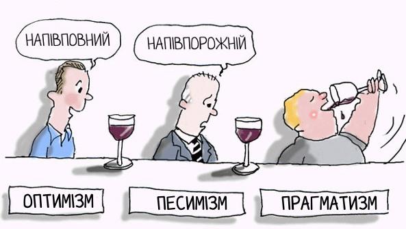 Малюнок  про склянку та оптимістів, песимістів