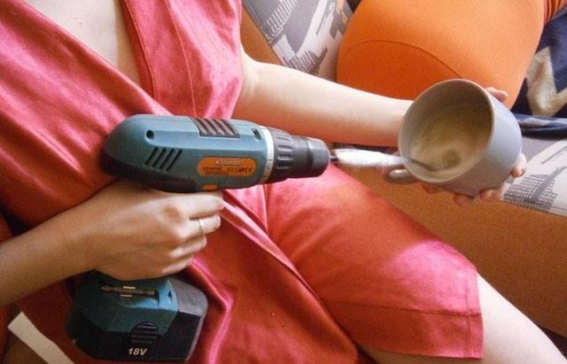 Фото прикол  про перфоратор та приготування їжі