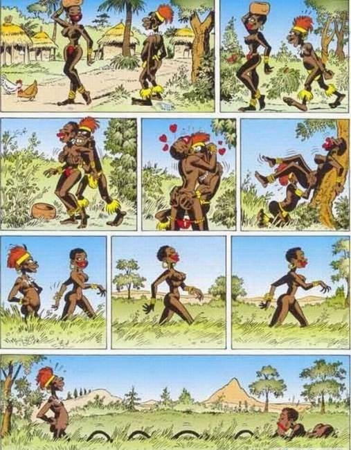 Малюнок  про мінет, африку, вульгарний комікс