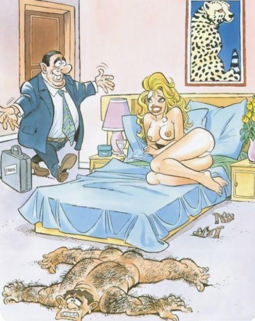 Малюнок  про чоловіка, дружину, коханців вульгарний