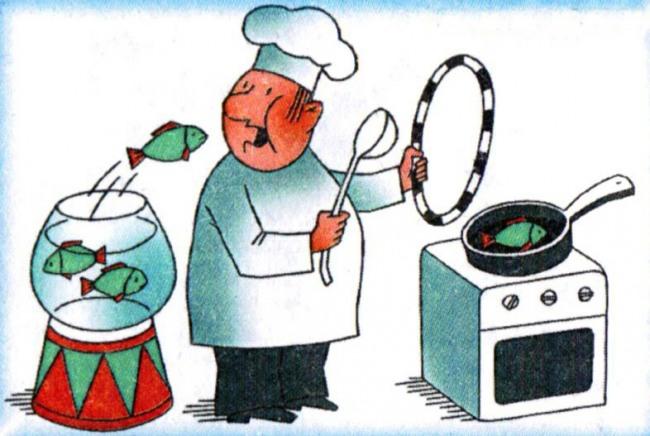 Малюнок  про кухарів, приготування їжі, рибу журнал перець
