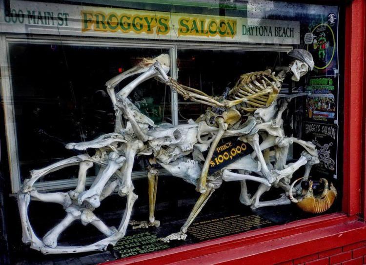 Фото прикол  про скелет, мотоциклістів та мотоцикл