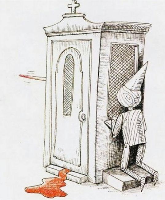 Малюнок  про піноккіо, сповідь, церкву чорний