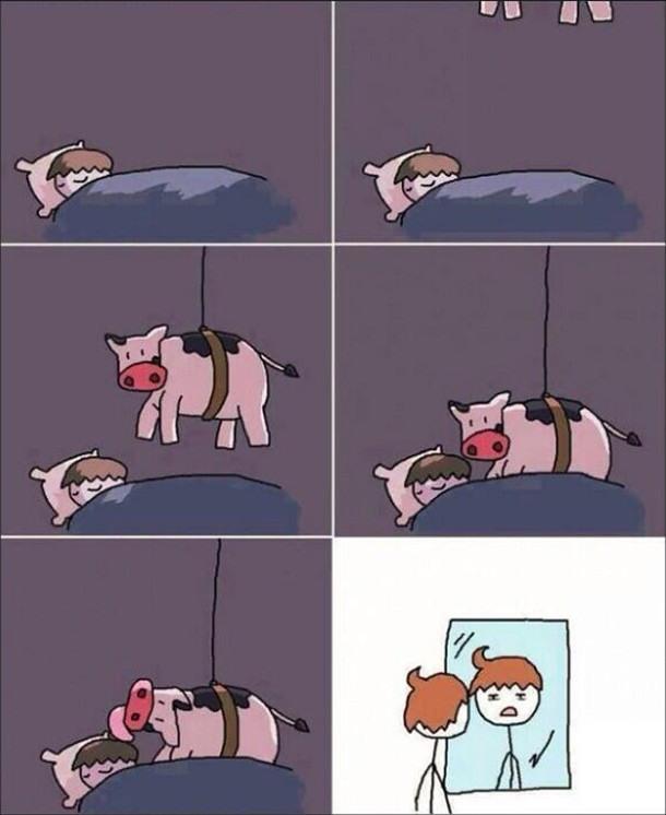 Малюнок  про зачіску, корову комікс