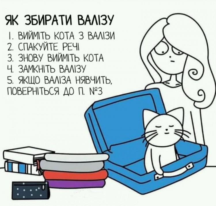 Малюнок  про валізу та котів