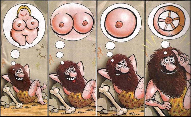 Малюнок  про первісних людей, жіночі груди, колесо, комікс вульгарний