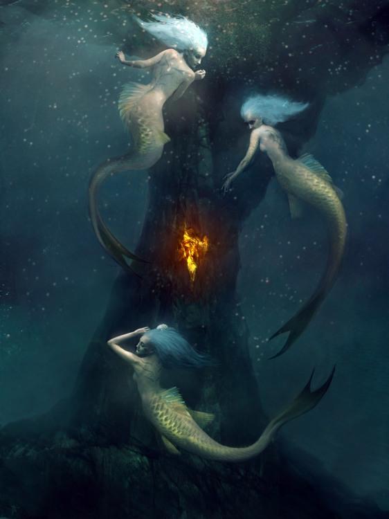 Малюнок  про русалок, вульгарний чорний
