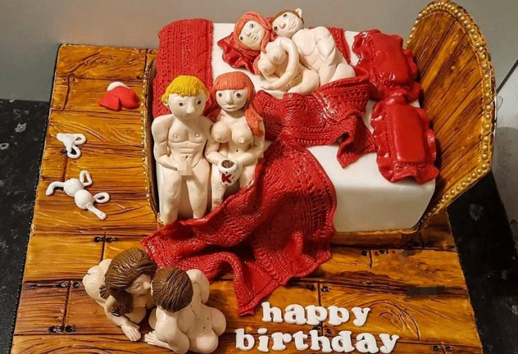 Фото прикол  про торт, груповий секс вульгарний