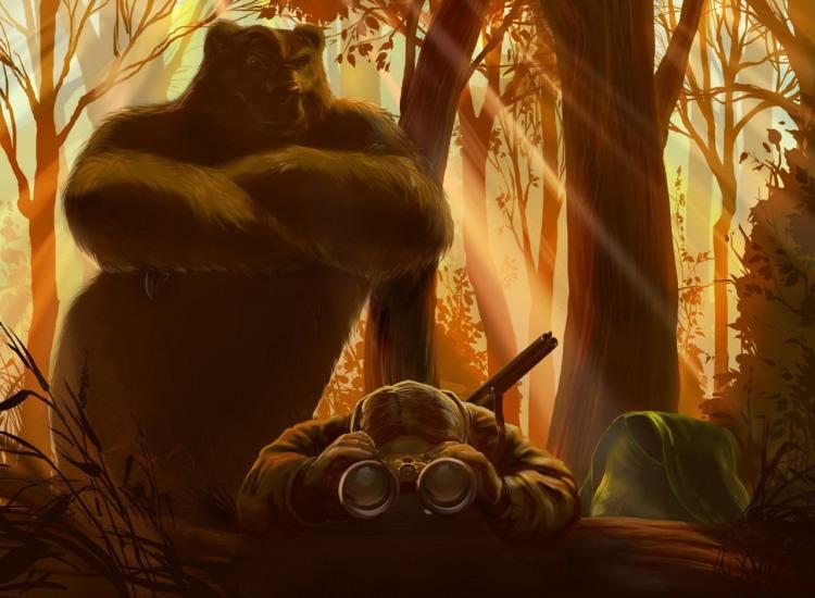 Малюнок  про полювання, ведмедів чорний