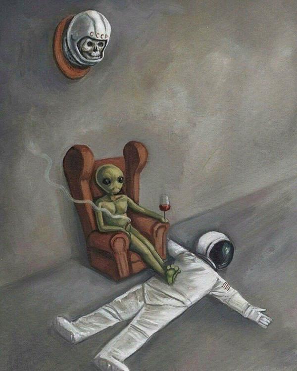 Малюнок  про інопланетян чорний