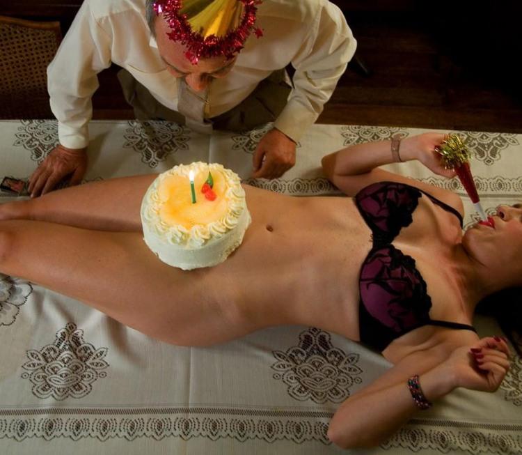 Фото прикол  про день народження, торт, інтимний вульгарний