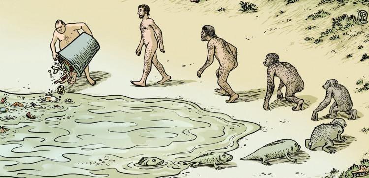 Малюнок  про людей, еволюцію та забруднення