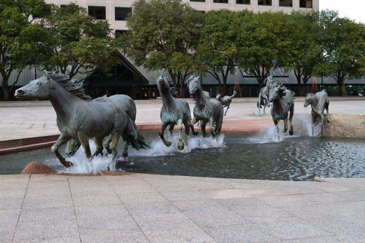 Фото прикол  про фонтан та коней
