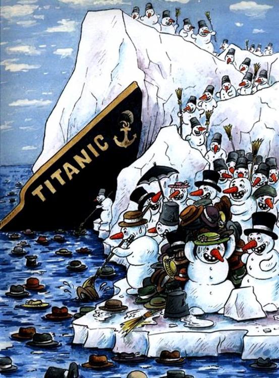 Малюнок  про титанік, сніговика чорний