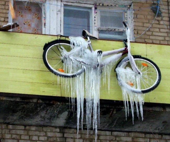 Фото прикол  про бурульки та велосипед