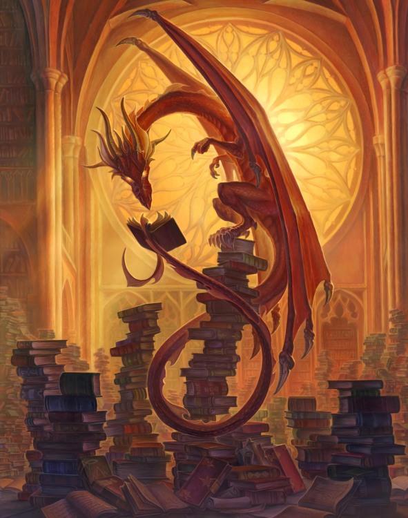 Малюнок  про драконів та бібліотеку