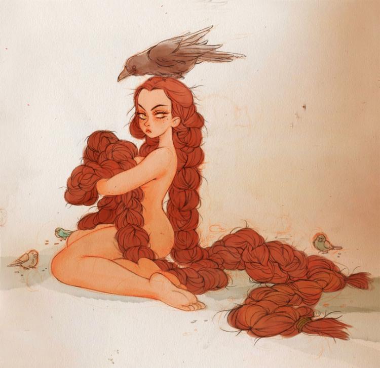 Малюнок  про дівчат, роздягнених людей, волосся вульгарний