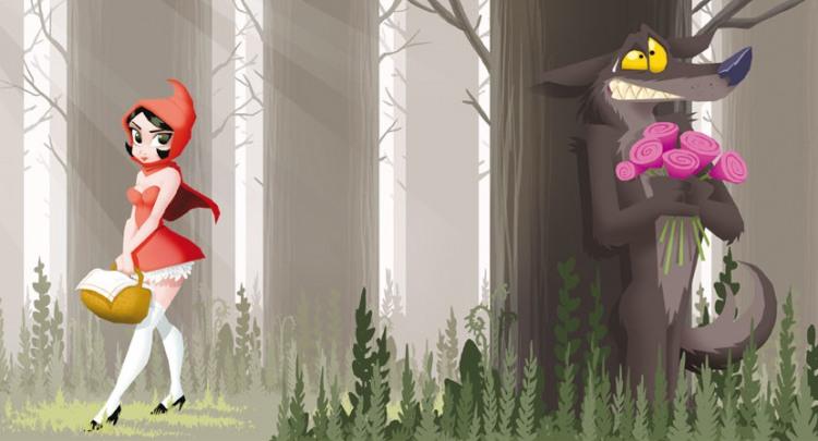 Малюнок  про червону шапочку та сірого вовка