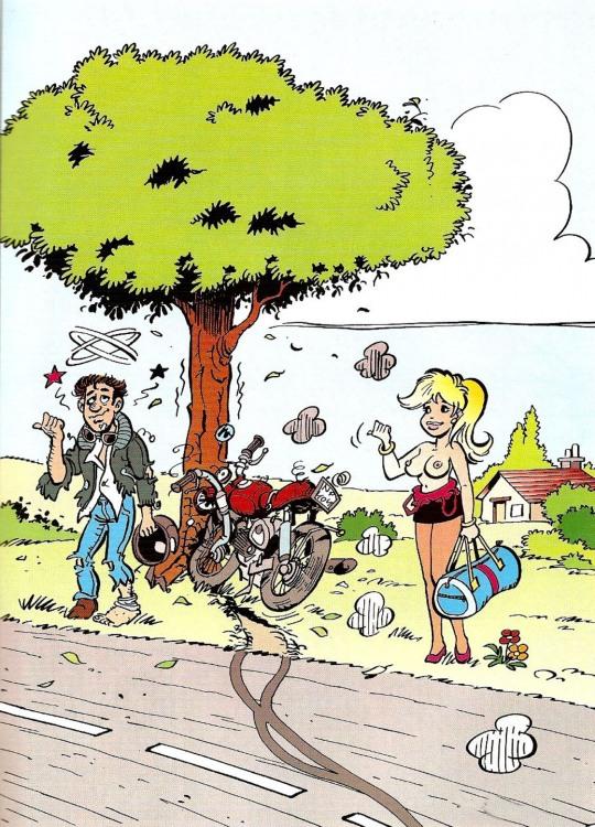 Малюнок  про мотоциклістів, жіночі груди, дтп вульгарний