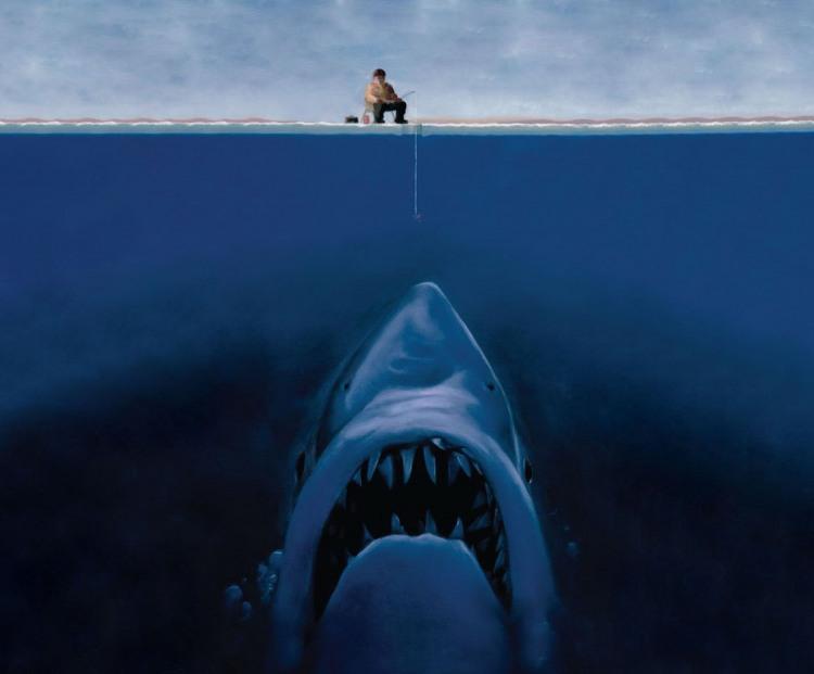 Малюнок  про риболовлю, акул, лід чорний