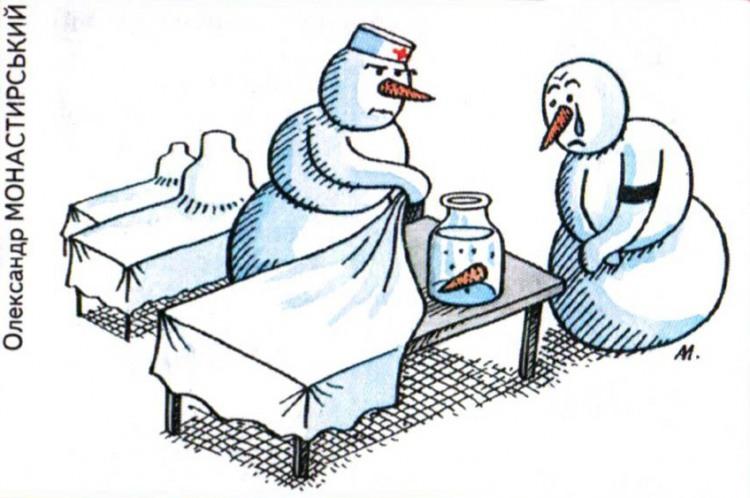 Малюнок  про сніговика, чорний журнал перець