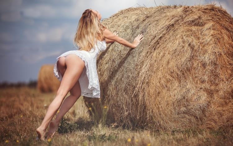 Фото прикол  про сіновал, білявок, сідниці вульгарний