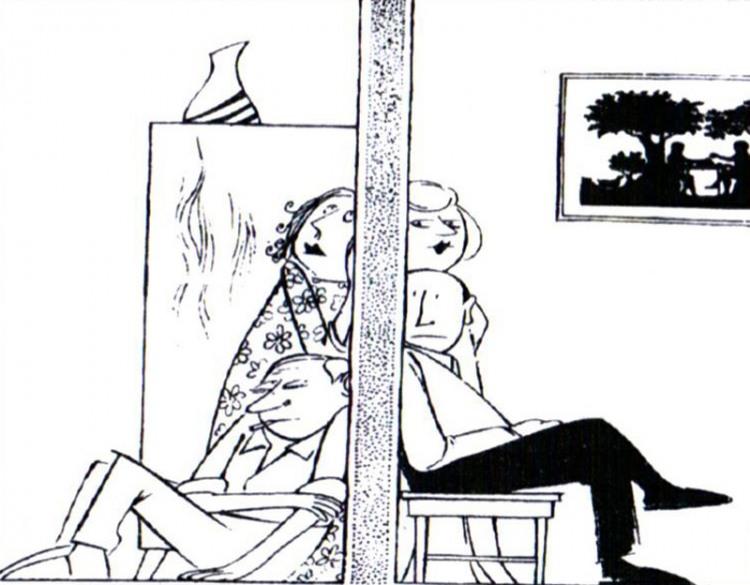 Малюнок  про підслуховування, сусідів журнал перець