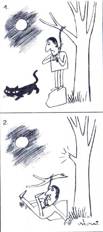 Малюнок  про самогубство, чорного кота, чорний журнал перець