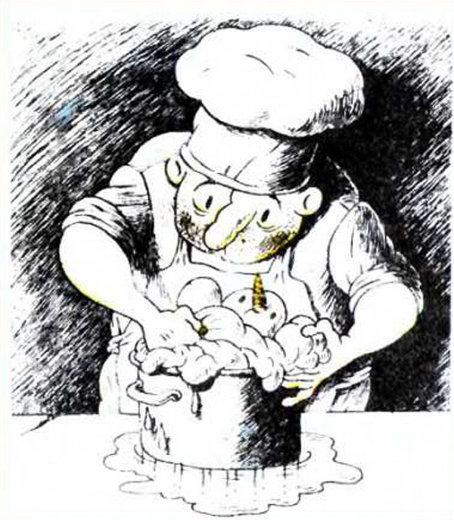 Малюнок  про кухарів, сніговика журнал перець