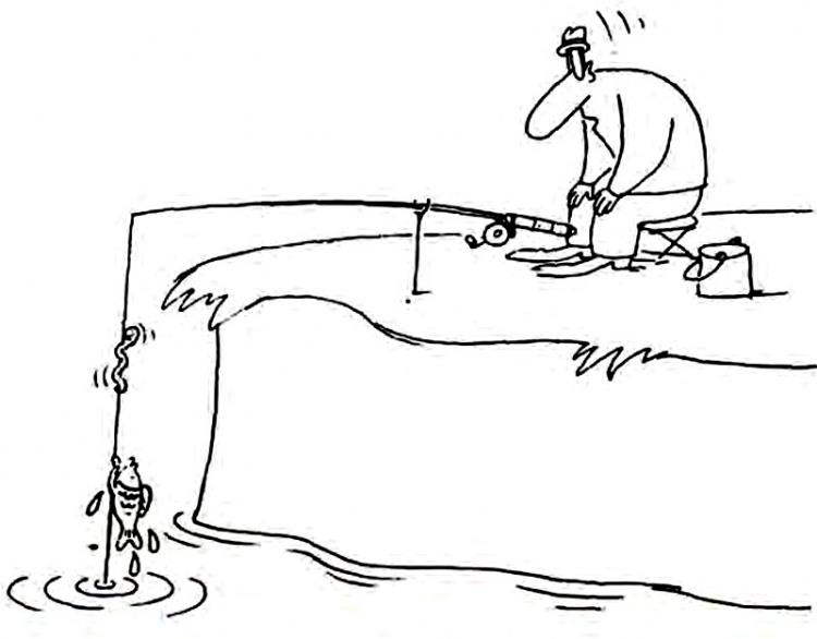 Малюнок  про риболовлю, рибу, черв'яків журнал перець