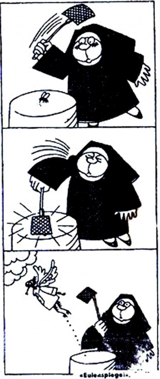 Малюнок  про черниць, мух, мухобійку журнал перець